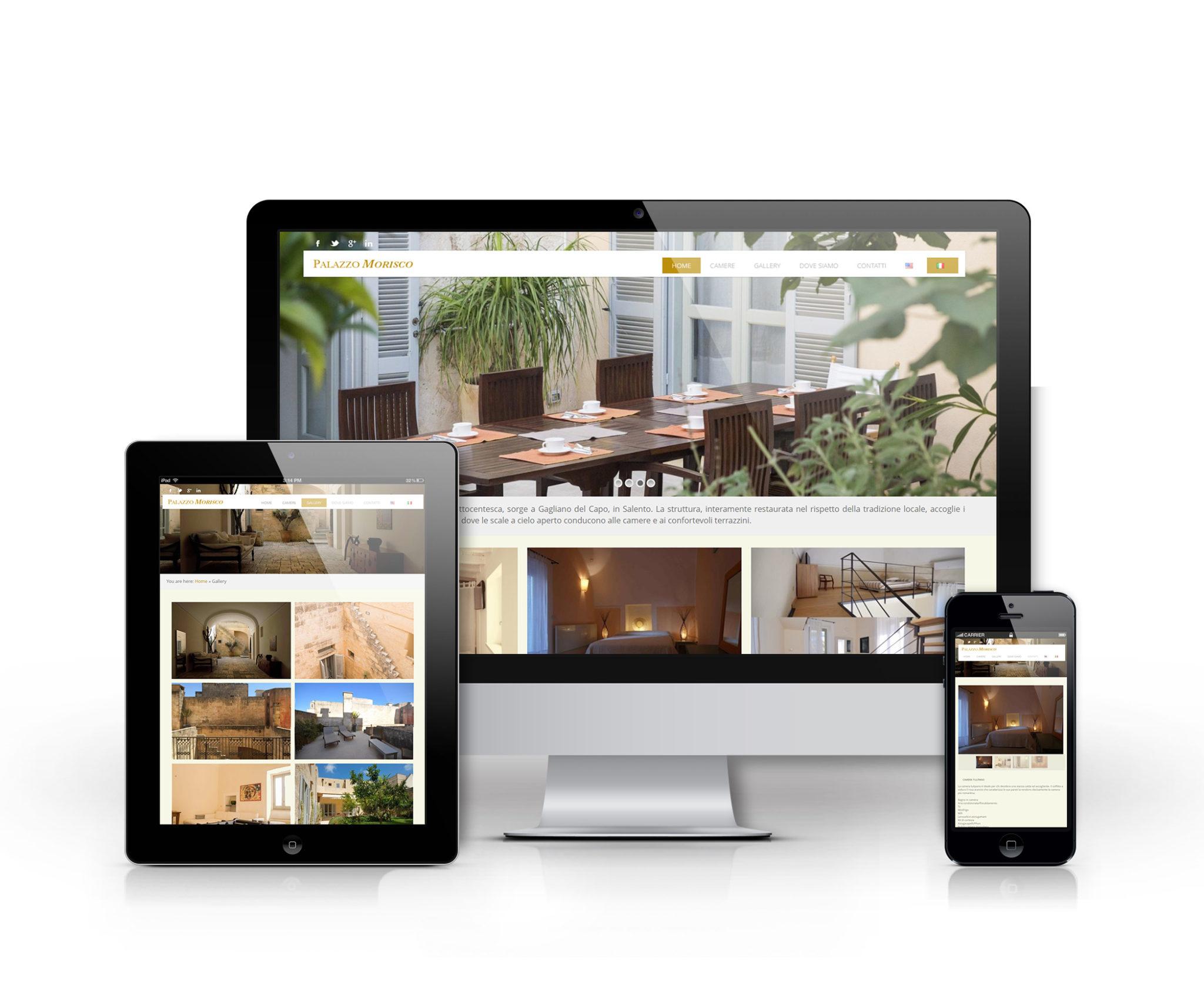 Mockup sito desktop, tablet e mobile Palazzo Morisco