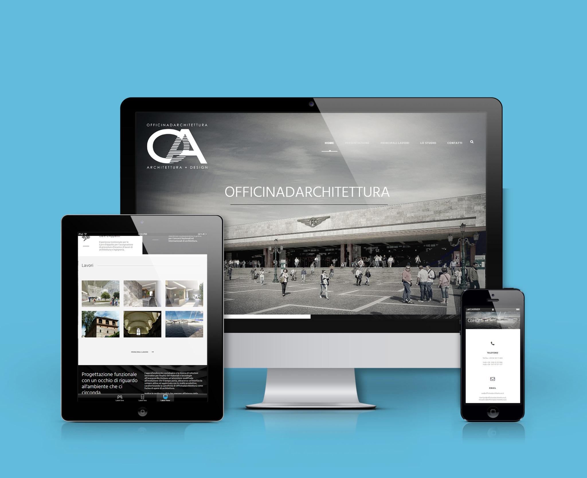 Mockup sito desktop, tablet e mobile